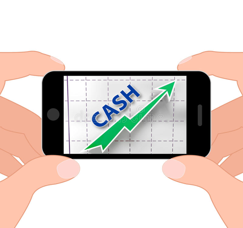 Cash Graph Displays More Money And Earnings. Cash Graph Displaying More Money And Earnings stock illustration