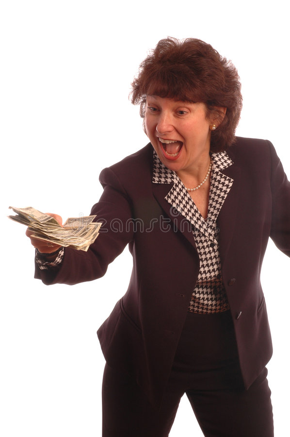 Cash in hand 408. Cash in hand model released copy space white background 408 stock photo