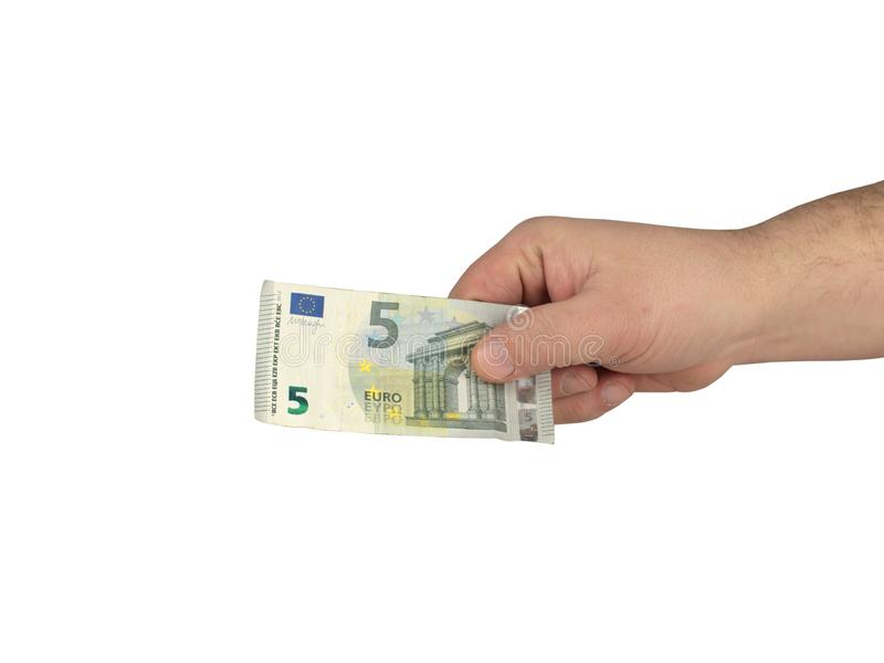 Cash on the hand. On a white background royalty free stock images