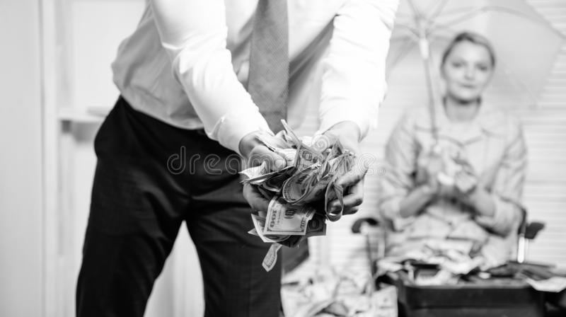 Cash in hands of office worker or businessman. Cash dollar currency office background defocused. Credit loan or profit royalty free stock photo