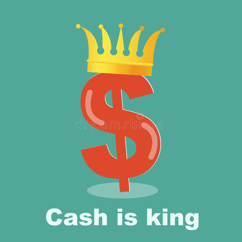 Cash is king - dollar gold grown stock illustration