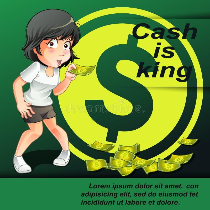 Cash is king. royalty free illustration