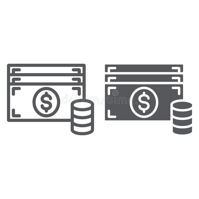 Cash line and glyph icon, finance and currency, money sign, vector graphics, a linear pattern on a white background. royalty free illustration