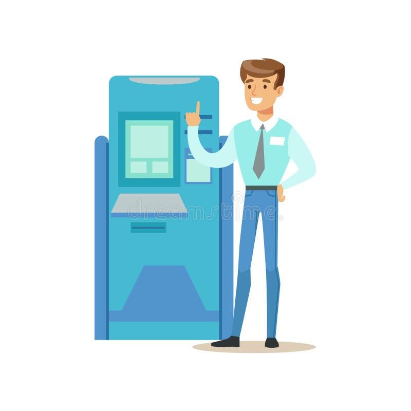 Cash machine di BANCOMAT di Standing Next To del consulente in materia della Banca Servizio del credito, gestione di conto e vett illustrazione di stock
