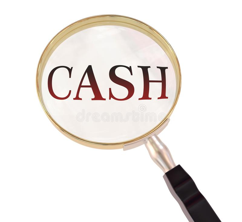 Cash magnify. By 3d rendered magnifying glass on isolated white background royalty free illustration