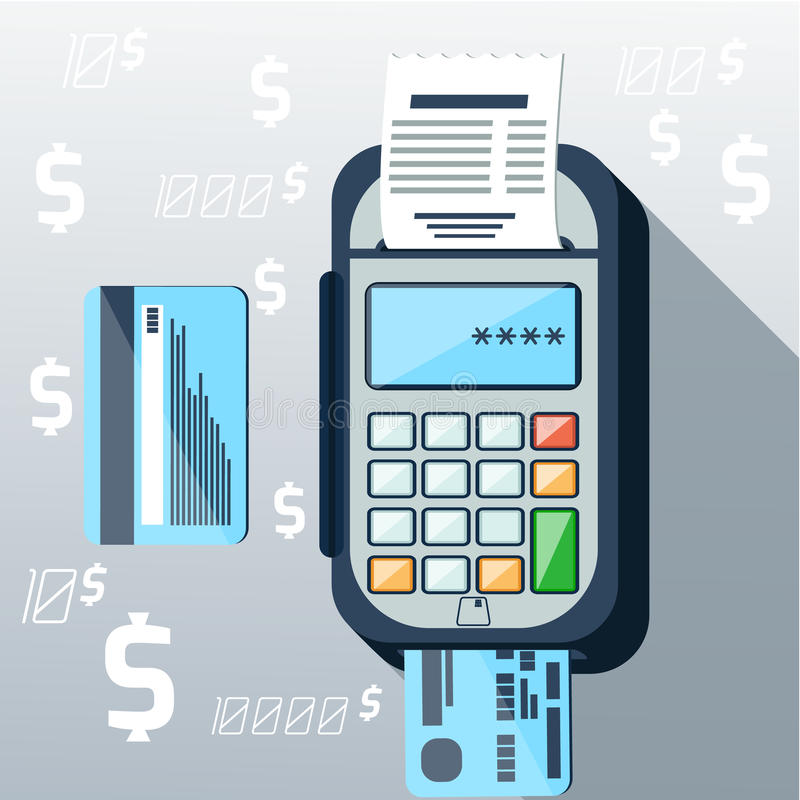 Cash mashines issues receipt of payment card vector illustration