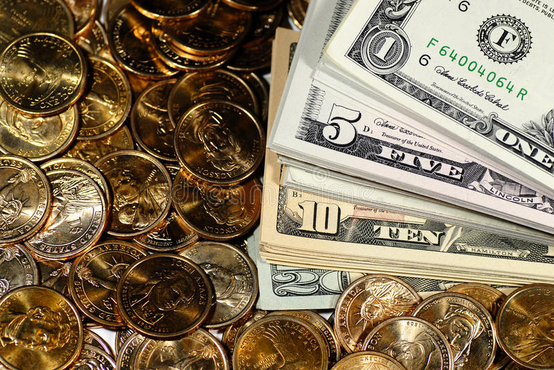 Download Cash Money Bills and Coins stock image. Image of savings - 22350719