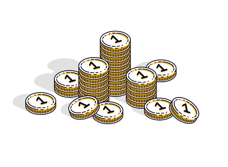 Cash money coin stacks isolated on white background. Vector 3d isometric business and finance illustration. Cash money coin stacks isolated on white background royalty free illustration