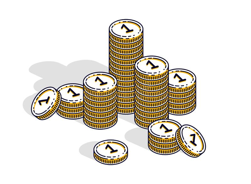 Cash money coin stacks isolated on white background. Vector 3d isometric business and finance illustration. Cash money coin stacks isolated on white background stock illustration
