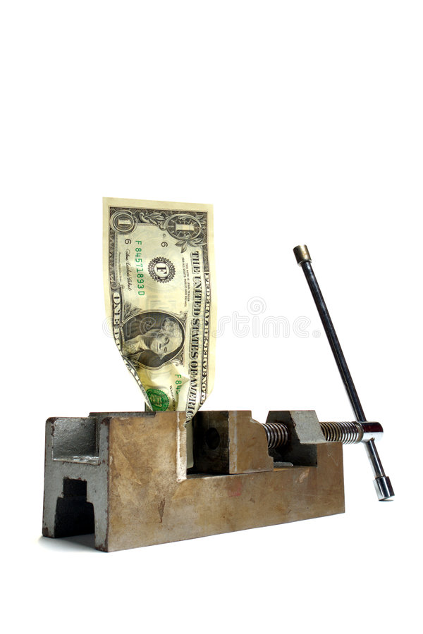 Cash Money Crunch Dollar Bill Crushed in Vise royalty free stock photos