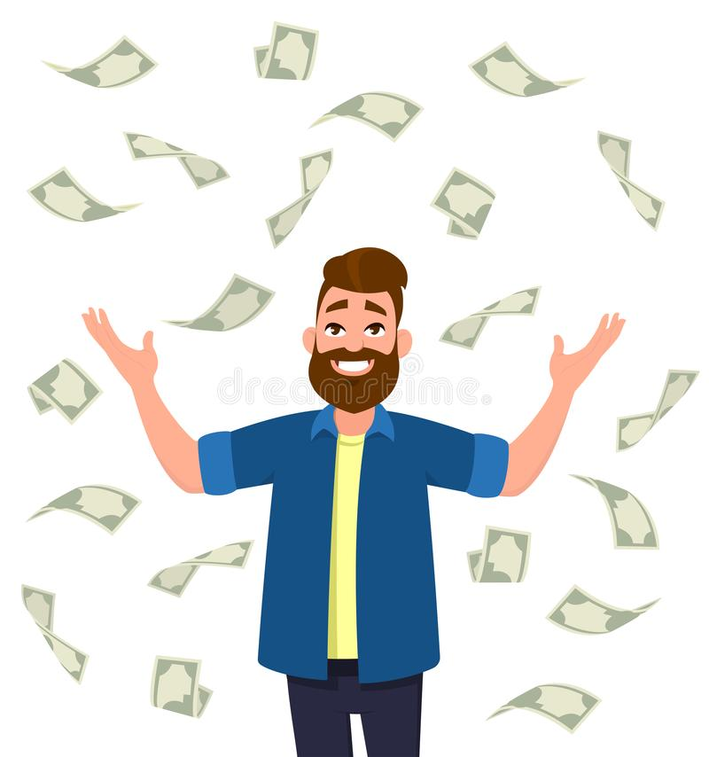 Cash/money/currency bills falling around young man. Falling money successful finance and business concept illustration in vector cartoon style vector illustration
