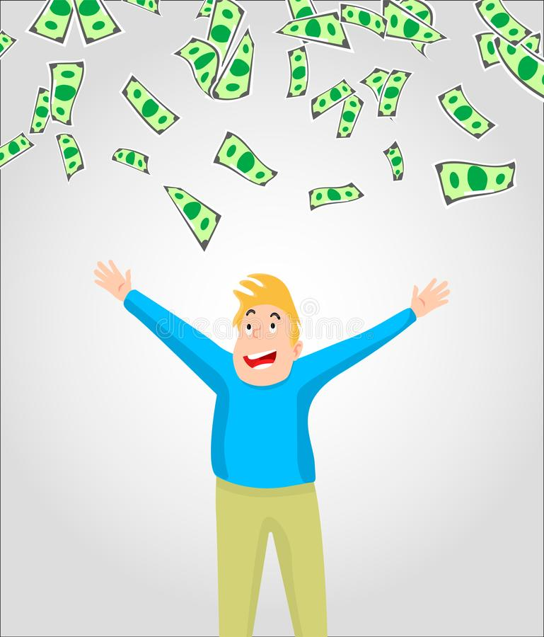 Cash/money/currency bills falling around young man. Falling money successful finance and business concept illustration in vector cartoon style royalty free illustration