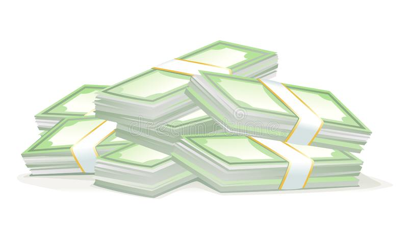 Cash money dollar stacks isolated. Big bundles of money isolated illustration, cash money stacks concept of wealth, scattered stacked pile of cash, stacked pile vector illustration