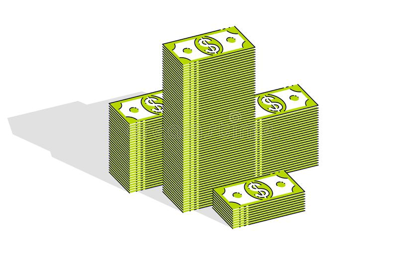 Cash money dollar stacks isolated on white background. Vector 3d isometric business and finance illustration. Cash money dollar stacks isolated on white vector illustration