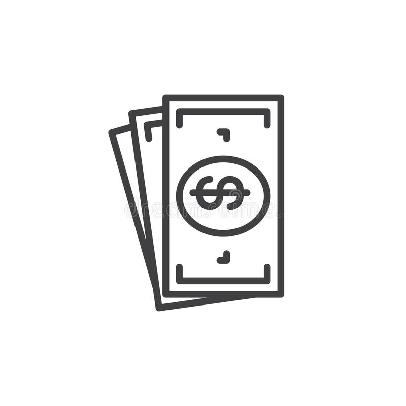 Cash money line icon, outline vector sign, linear style pictogram isolated on white. stock illustration
