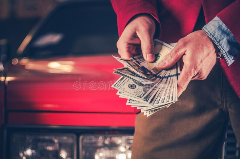 Cash Money For Your Car. Vehicle Selling and Buying Retro Concept. Automotive Industry stock images