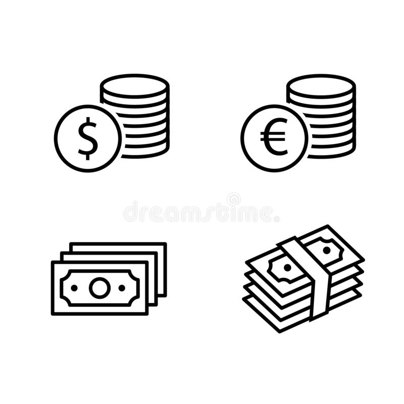 Cash paper money stack and dollar and euro coin black outline icon set with shadow. Business financial pictograms stock illustration