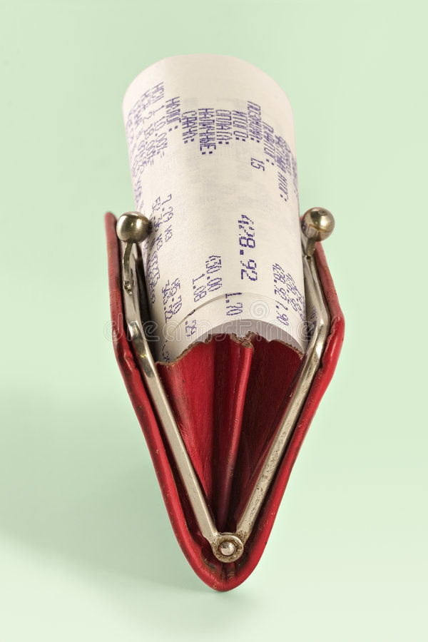 Download Cash Receipt On Background Of A Purse Stock Photo - Image: 2096974