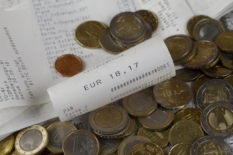 Cash receipts with an amount of 18,75 Euro royalty free stock photo