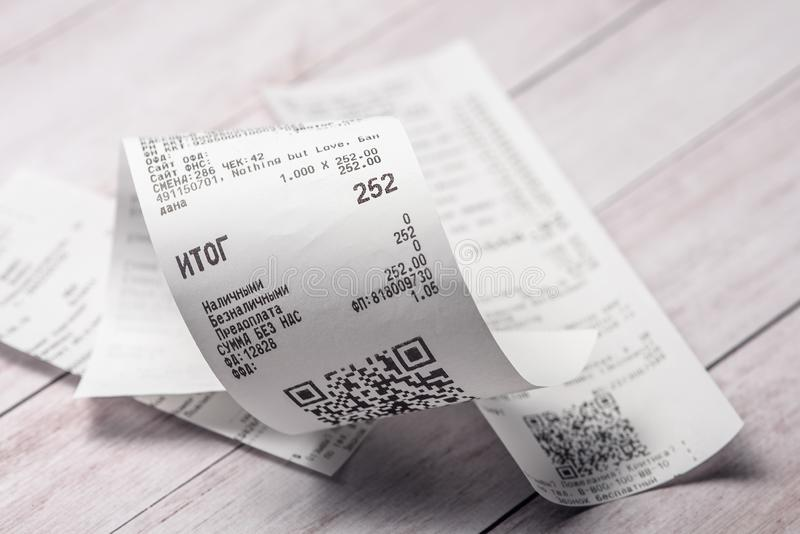 Cash receipts on the table stock photography