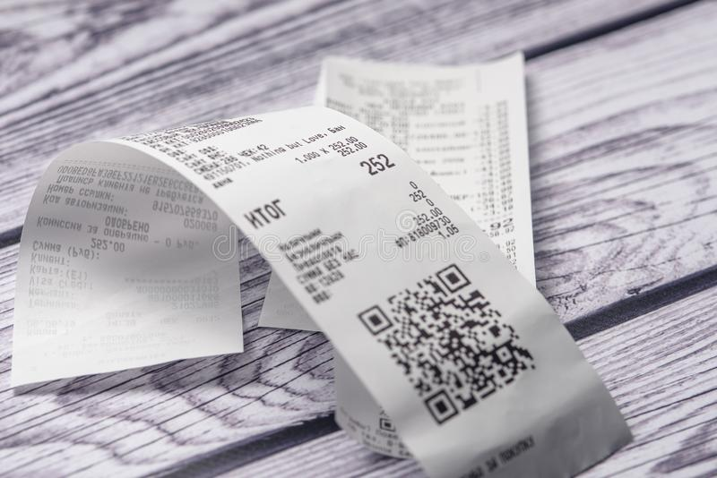 Cash receipts on the table royalty free stock photos