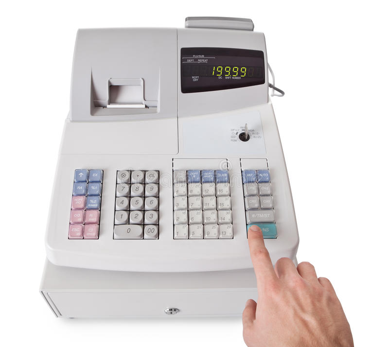 Cash register. With LCD display. Isolated on white background stock images