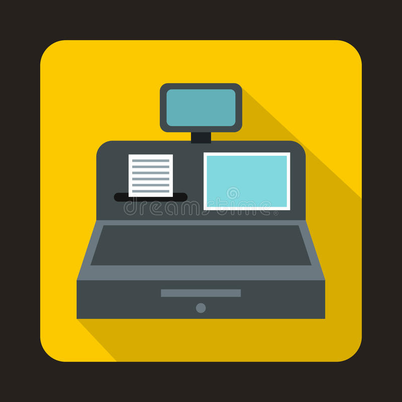 Cash register with cash drawer icon, flat style. Cash register with cash drawer icon in flat style on a yellow background vector illustration