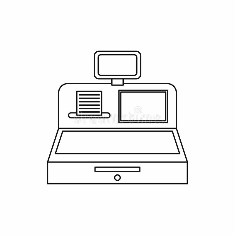 Cash register with cash drawer icon, outline style. Cash register with cash drawer icon in outline style isolated illustration vector illustration