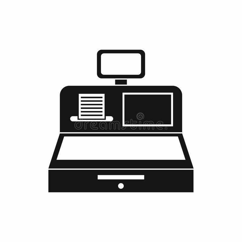 Cash register with cash drawer icon, simple style. Cash register with cash drawer icon in simple style isolated vector illustration royalty free illustration