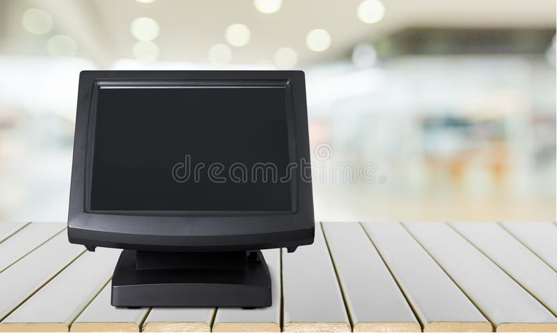 Cash register. Restaurant bar counter paying bar hotel computer monitor royalty free stock photography