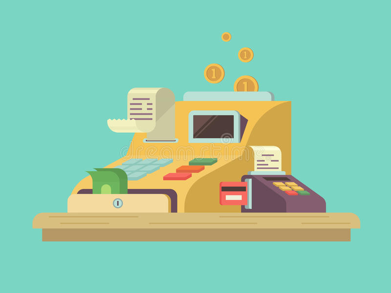 Cash register in flat style. Money and finance, equipment counter, commercial service, checkout machine. Vector illustration vector illustration