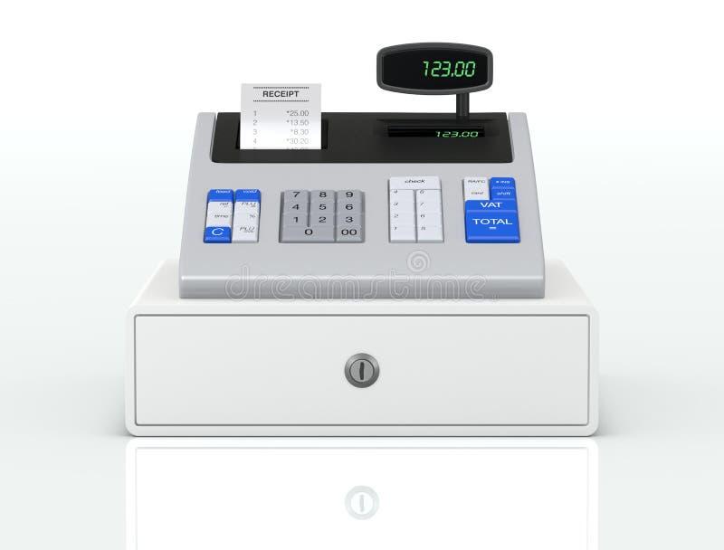 Cash register. Front view of a cash register with receipt (3d render stock illustration