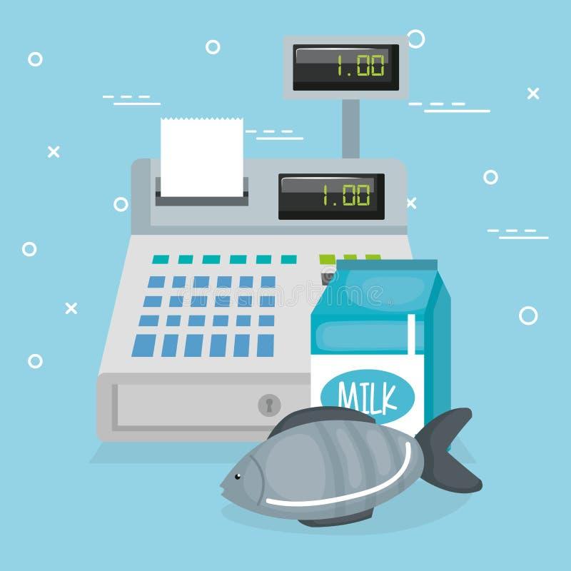 Cash register with groceries. Vector illustration design stock illustration