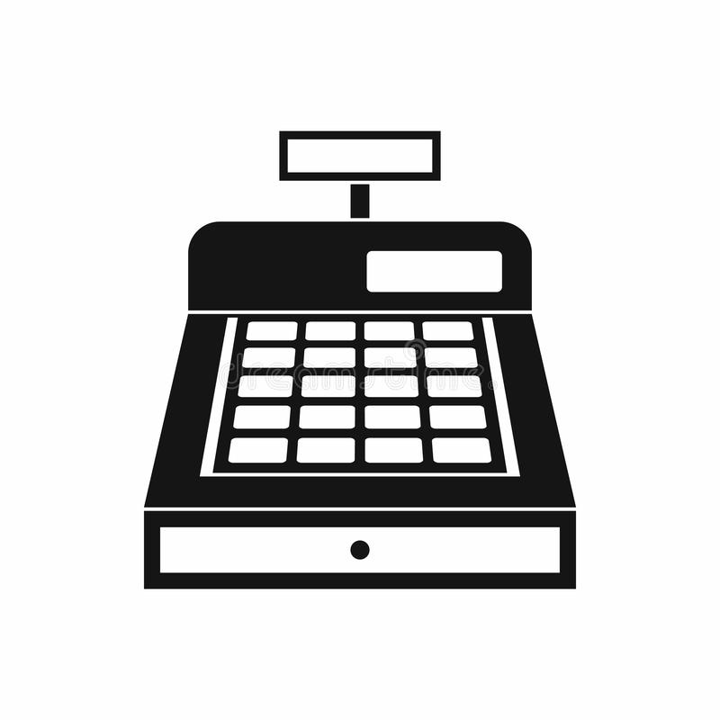 Cash register icon, simple style. Cash register icon in simple style isolated on white background. Money symbol stock illustration