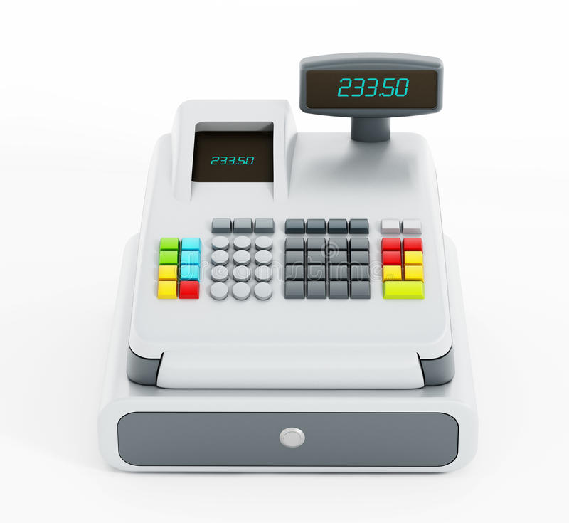 Cash register. Isolated on white background stock illustration