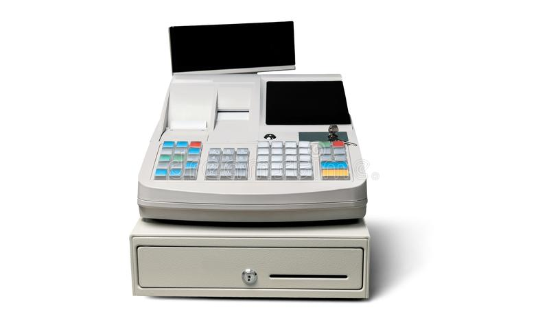 Cash register with LCD display on background. Display cash lcd register background money object royalty free stock photography