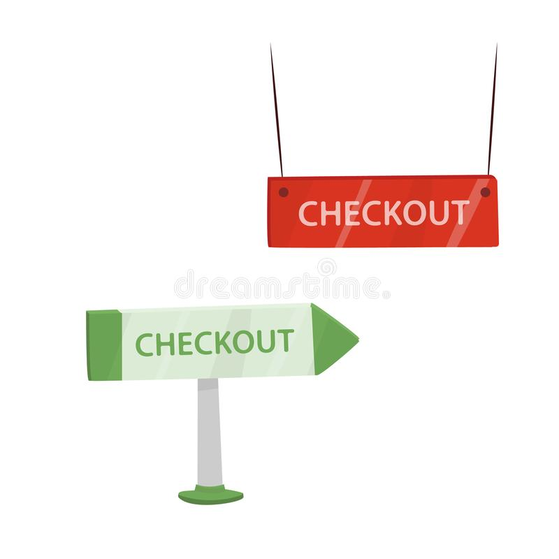 Cash register pointers. With text `checkout`. Vector isolated illustration in cartoon style stock illustration