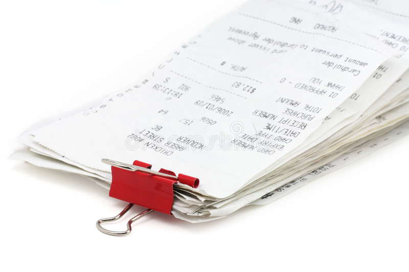 Cash register receipt stock images