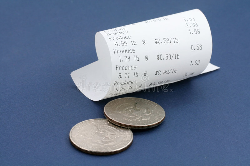 Cash register receipt and us dollar stock photo