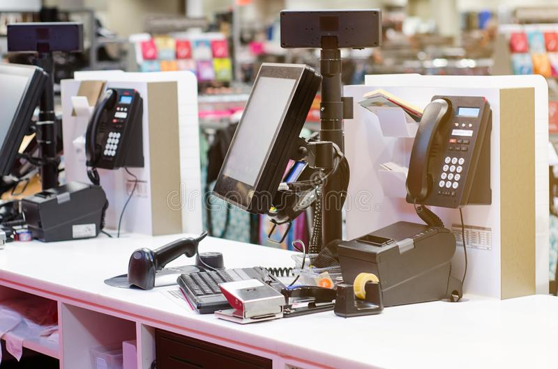 Cash register in the store.  royalty free stock photo