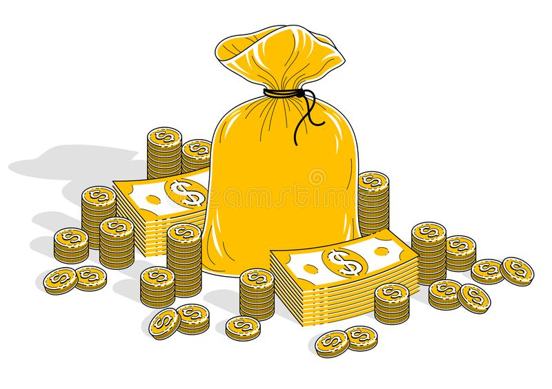 Cash riches and wealth, Money Bag with banknotes stacks and coin. S piles isolated on white background. Isometric business and finance illustration, 3d thin line vector illustration