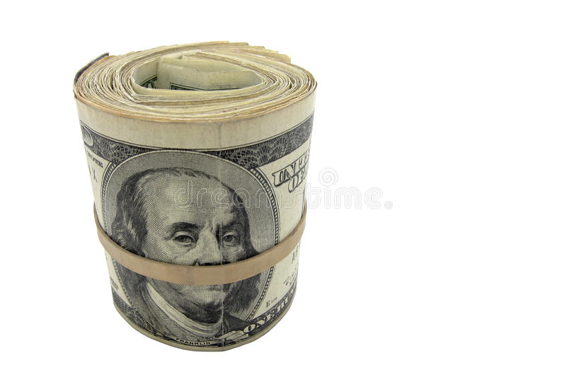 Cash Roll of American US Dollar Money Isolated royalty free stock photos