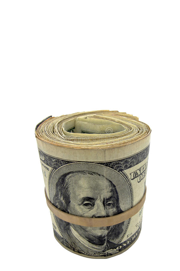 Cash Roll of American US Dollar Money Isolated stock image