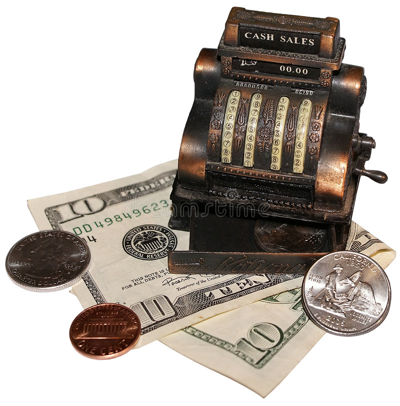 Cash Sales. Miniature cash register with ten dollar bill and some coins stock images
