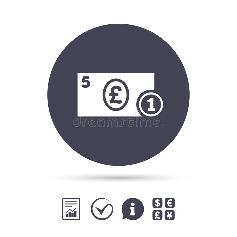 Cash sign icon. Pound Money symbol. Coin. Cash sign icon. Pound Money symbol. GBP Coin and paper money. Report document, information and check tick icons stock illustration