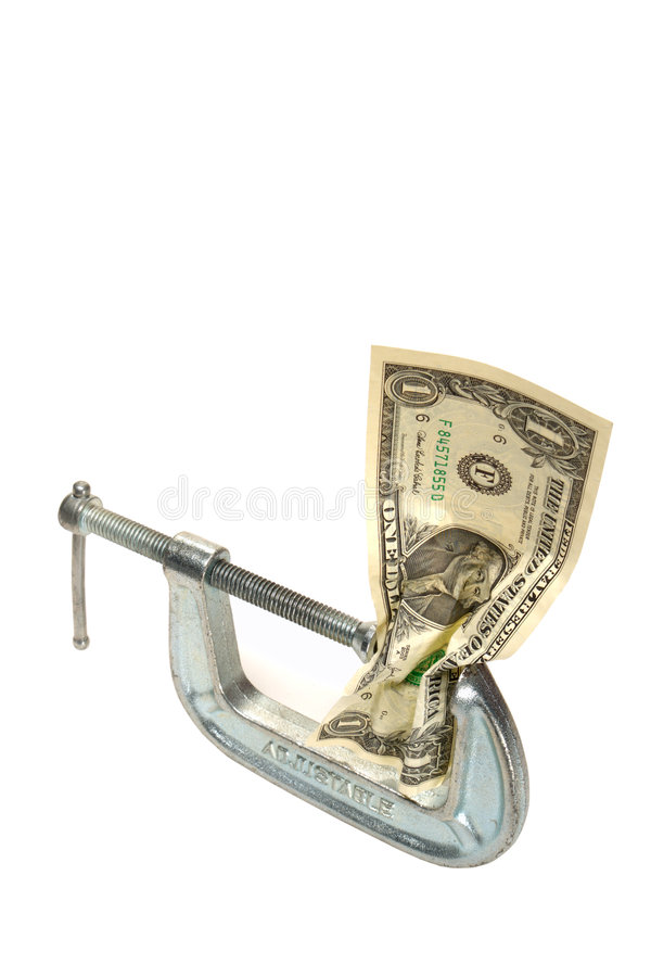 Cash Squeeze Dollar Bill Money in Adjustable Clamp stock images