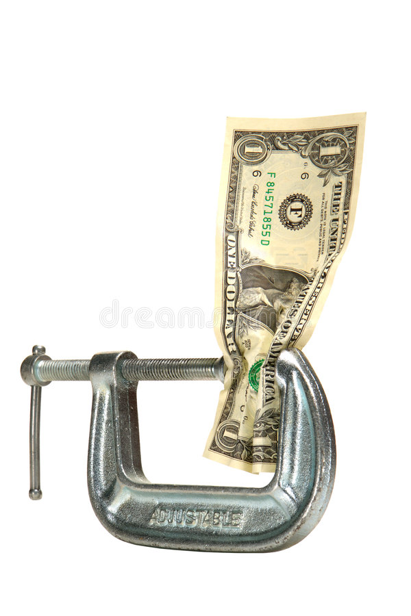 Cash Squeeze Dollar Bill Money in Tight Vise Clamp royalty free stock photo