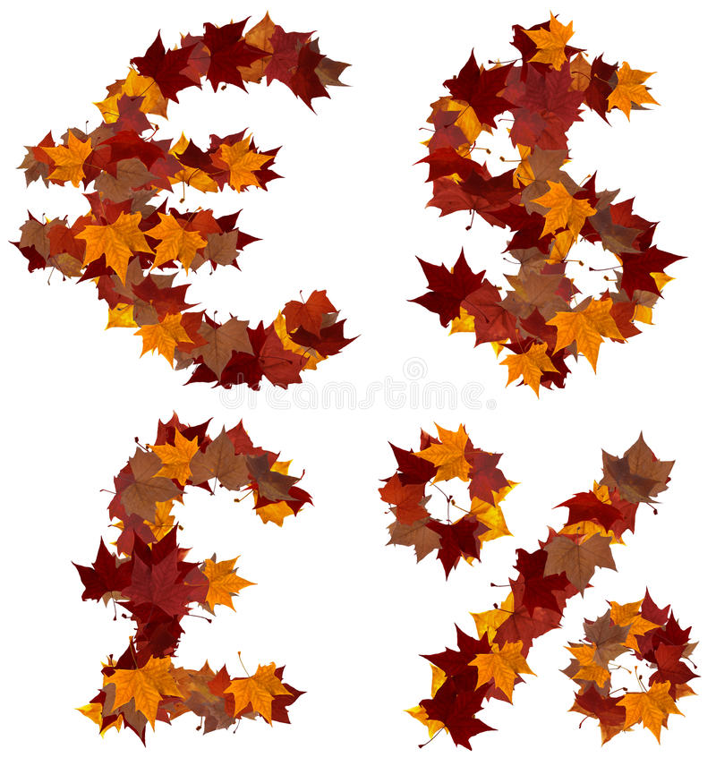 Download Cash Symbols Fall Leaf Composition Isolated Stock Image - Image of color, gold: 21337931