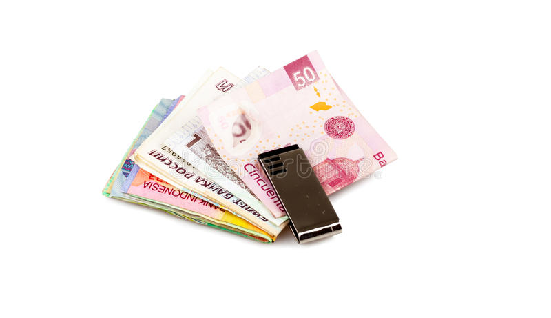 Cash in the Third World. Mexico, Russia, Qatar, Indonesien royalty free stock photos