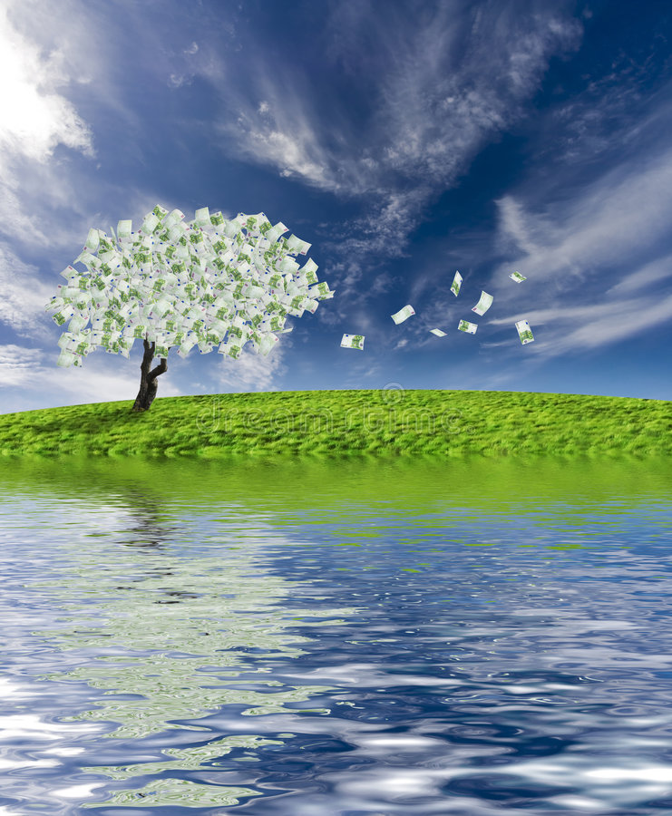 Download Cash Tree With Reflection Royalty Free Stock Photography - Image: 3825047